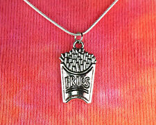French Fries Necklace on Snake Chain Choose Length, Favorite Food Fried Potatoes