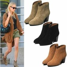 Fashion Womens Suede Leather Ankle Boots Western Cowboy Oxfords Zip Mid Heels