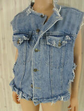 VINTAGE DENIM REAL 1990s GRUNGE DESTROYED quality VEST FADED BLUE sz M/L