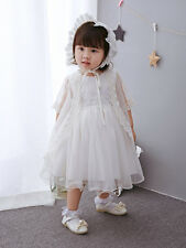 Ivory Baptism Dress Embroidery Christening Dress New Born Baby Lace Gown 3-12M
