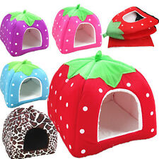 Soft Kennel Puppy Strawberry Doggy Cushion Cat Basket Pet Dog Warm Bed House Pad