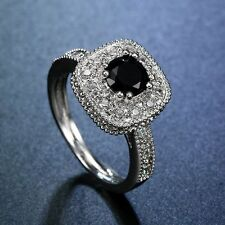 925 Silver Natural 0.8Ct Black Sapphire Ring Wedding Bridal Engagement Size6-10