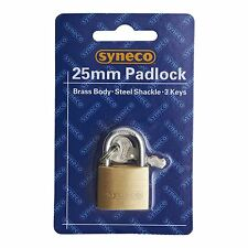 Syneco SOLID BRASS PADLOCK Steel Shackle, w/ 3-Keys, 20mm, 25mm, 40mm, or 50mm