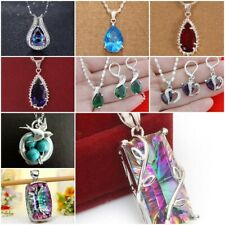 925 Silver Emerald Jewelry Set Women Drop Earrings +Pendant Necklace 24 inches