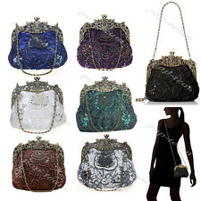 Vintage Style Beaded Formal Evening Clutch Bag Wedding Party Prom Purse Handbag