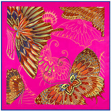 """Women Navy Blue Vintage Butterfly Printed Big Square Shawl Head Scarf 39""""*39"""""""