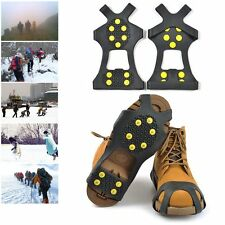 10 stud Snow Cleats Anti-Slip Overshoes Studded Ice Traction Shoe Covers Spike