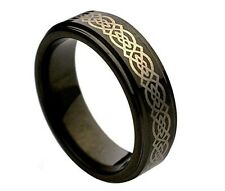 6mm Ladies Black Tungsten Carbide Celtic Knot Loyalty Wedding Band Ring