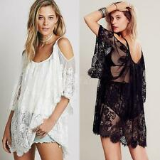 Women Boho Beach Dress Sexy Strap Sheer Lace Party Dress Swimsuit Cover N6B1
