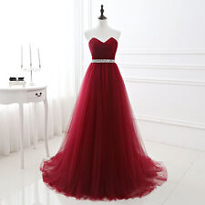Burgundy Bridesmaid Dress Long Evening Party Prom Gown Size 2 4 6 8 10 12 14 16