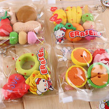 Funny Cute Food Rubber Pencil Eraser Set Stationery Novelty Children Party Gifts