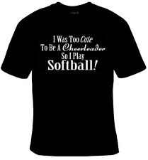 New I Was Too Cute To Be A Cheerleader So I Play Softball T-Shirt RED PURPLE New