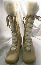 NIB Ladies Canyon River Blues Fur Trimmed Tan Suede Boots Sizes 9-10