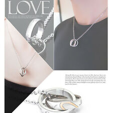 His and Hers Stainless Steel Couple Ring Love Chain Pendant Necklace Lovely Gift