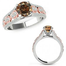 1.5 Ct Champagne Color Diamond Lovely Solitaire Halo Ring Band 14K Two Tone Gold