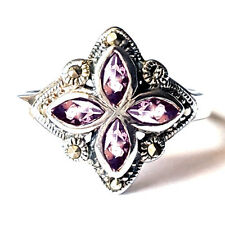 AMETHYST Marquise-Cut Stones RING Marcasite .925 Sterling Silver (SIZE 6,7,8)