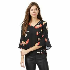 The Collection Petite Womens Black Floral Print Tie Back Petite Top