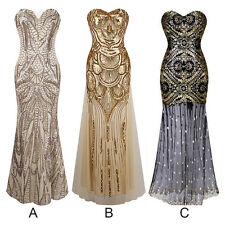 Sequins Womens Mermaid Long Prom Formal Evening Gown Ball Party Bridesmaid Dress