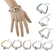 Fashion Women Hand Cahin Rope Weaving Alloy Button DIY Bangle Bracelet for Noosa