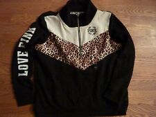 "VICTORIAS SECRET PINK LEOPARD "" LOVE PINK"" 1/2 ZIP FUNNEL NECK SWEATSHIRT NWT"