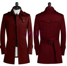 New Mens Coat Long Jacket British Outwear Trench Buttons Casual Peacoat Sz S-9XL