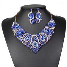 Wedding Bridal Gold Plated Jewelry Set Crystal Statement Necklace Earrings