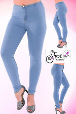 UK Womens Ladies High Waisted Skinny Jeans Stretch Denim Jegging Pants Size 6-14