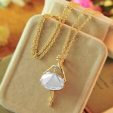 Sweater Ladies Gold Plated Long Chain Crystal Ballet Girl Pendant Necklace