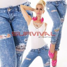Womens New Cropped Skinny Jeans Ripped Size 6 8 10 12 14 Hipster Blue Washed