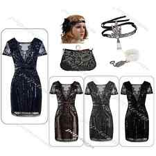 1920s Flapper Gatsby Party Formal Evening Prom Dress Vintage Costume Accessories