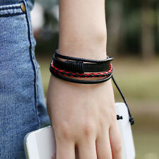 Retro Multilayer Leather Wristband Bracelet Cuff Charm Bangle Men Women vfd
