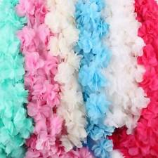 2 5Yds 3D Flower Petal Chiffon Leaves Lace Trim Wedding Dress Bridal Fabric Doll