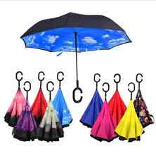 Windproof Reverse Folding Double Layer Inverted Chuva Umbrella Self Stand Inside
