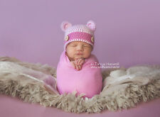 Hand Crochet Knitted Baby Hat Teddy Bear Bamboo Photo Prop Prem - 6M Girl Pink