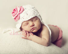 Hand Crochet Knitted Baby Earflap Hat Flower Photo Prop Girl Cotton Newborn-24M