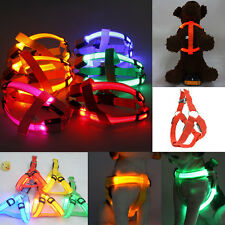 LED Flashing Light Dog Harness Safety Pet Puppy Harness Collar Lead Leash