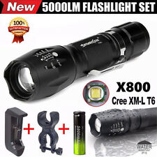 G700 X800 5000LM Cree T6 LED Flashlight Zoomable Military Bike Cycling Torch Set