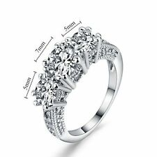 Jewelry 10KT Size 6-9 Wedding Band Ring White Gold Filled Ring White Sapphire