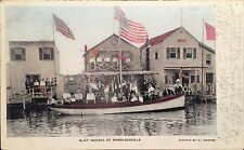 1907 Postcard Boat Houses Ramblersville New York With Postmark, American Flags