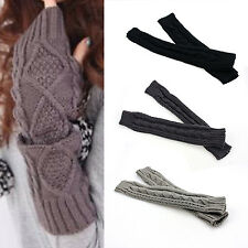 Nice Womens Cashmere Protection Knitted Wool Long Fingerless Arm Warmers Gloves