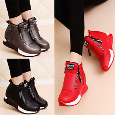 Womens Shoes Hi Top Fashion Sneakers Mid Wedge Sport Ankle Boots Winter Casual