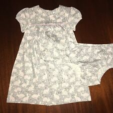 NWT 3-6 or 18-24M Mini Boden Gray Bunny Dress w/  Bloomers FREE Ship