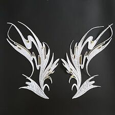 "White Wings Dance Costume Mirror Pair Embroidered 12"" Iron-on Patch Applique"