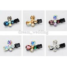 Cute Crystal Rhinestone Flower Barrette Hair Clip Hairpins Headwear Accessories