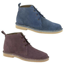 Womans Brand New Real Suede Lace Up Desert Boots Blue Plum 3 - 8