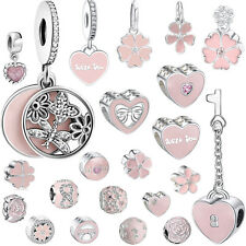 Pink Flower Dangle 925 European Sterling Charms Silver Bead for Bracelet Chain