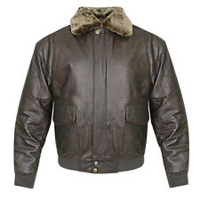'Classic Mens Vintage Aviator Bomber Brown Jacket'
