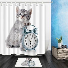 Lovely Cat Print Bathroom Shower Curtain Waterproof Fabric Bath Curtain Rugs Set