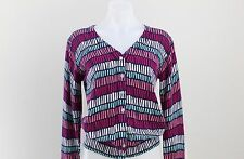 NWT All for Color Multi-Color Print V-Neck Knit Cardigan Sweater