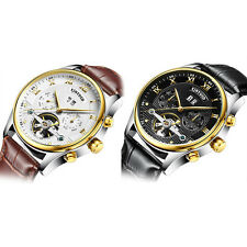 Classic Rose Gold BEZEL CASE skeleton Automatic mechanical Leather Men Watch NEW